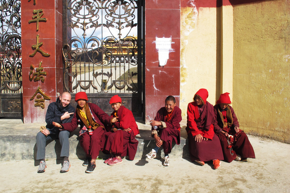 Hanging out with student monks