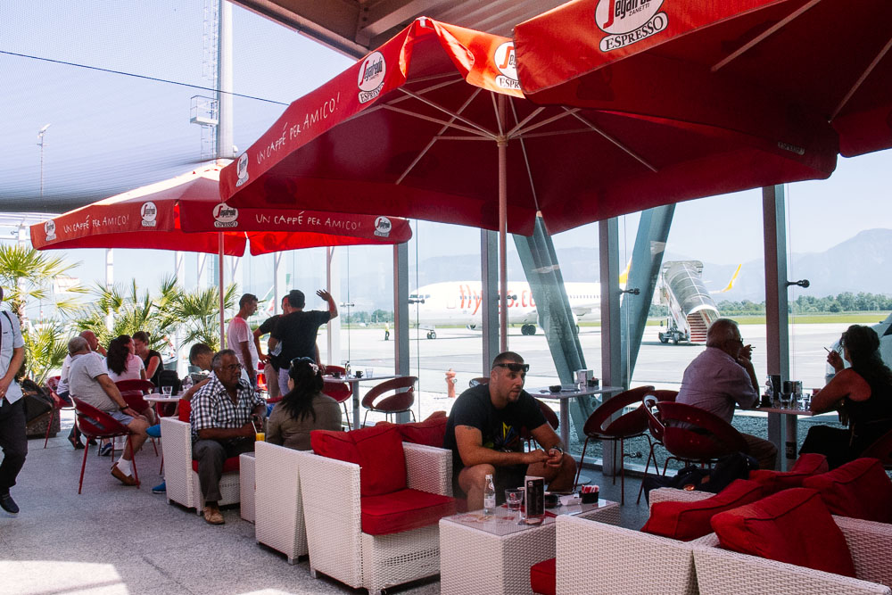 Airport cafe in Tirana, Albania