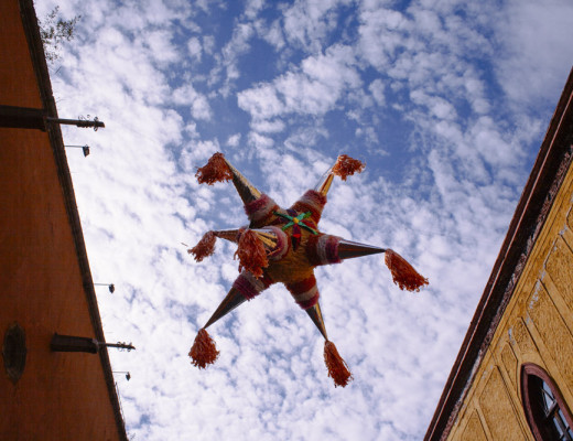 Holiday pinatas for the baby Jesus and the New Year in San Miguel de Allende, Mexico.